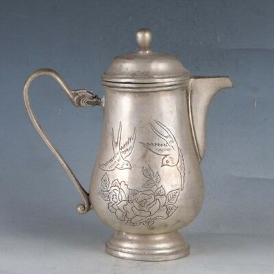 Chinese  Silvering Copper Birds&Flowers Teapots Made By The Royal QianlongBT0082