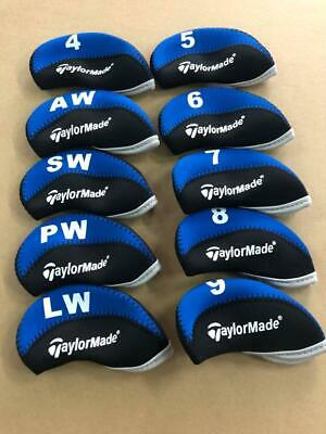 10PCS Golf Iron Covers for Taylormade Club Headcovers 4-LW Blue&Black Universal