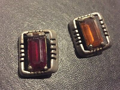 Lot of 2 vintage metal & or plastic buttons with colored glass center