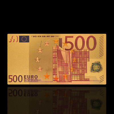1Pc Gold Foil €500 Euro Bank Note Bill Souvenir Paper Money Coin Collection Gift