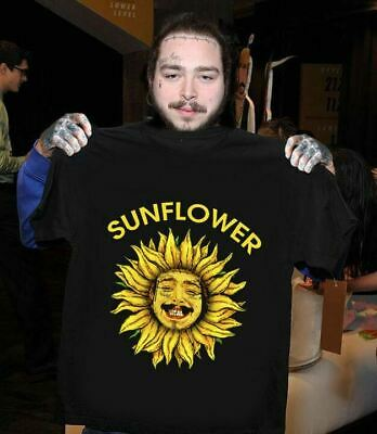 Post Malone American Rapper Sunflower Song T-Shirt Black Cotton Men S-6XL