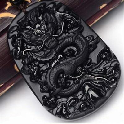 Nature Black Obsidian Hand Carved Dragon Lucky Blessing Pendant Chain Necklace