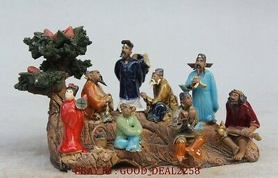 Collectible Handwork Old porcelain carving Chinese 8 immortal on boat statue