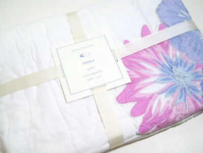 Pottery Barn Kids Blue Pink Multi Colors Emma Floral Baby Toddler Crib Quilt New