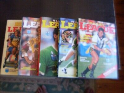 set of 5 Winfield Cup David Middleton Rugby League year books