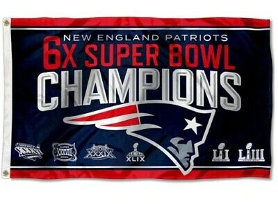Brand New New England Patriots 6X Super Bowl Champions Flag Superbowl Liii