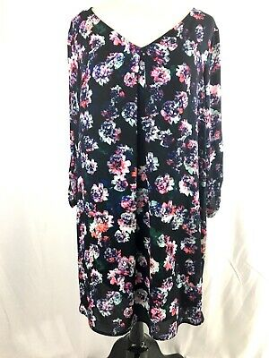 DECREE JUNIORS PLUS Size Dress 1X Floral Semi Sheer Overlay NWT $42 Pink