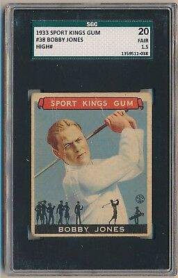 BOBBY JONES 1933 Goudey Gum Sport Kings #38 SGC 20 1.5 FAIR GOLF HOF Prewar