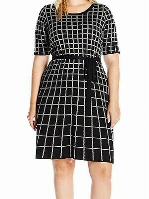 1bf3d7182b Gabby Skye NEW Gray Womens Size 1X Plus Belted Grid Knit Sweater Dress  99  949