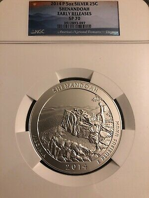 Nice 2014-P 5oz Silver 25C SHENANDOAH NGC SP70 SILVER COIN with Box and COA