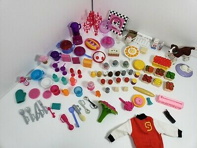 Barbie Accessory Lot Kitchen Food Pets Ball Gown Letter Jacket 92 Pieces