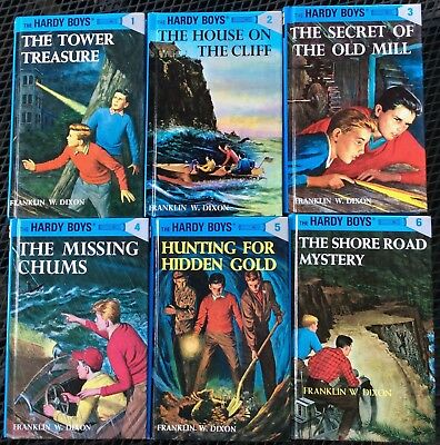 Lot of Hardy Boys: #1, 2, 3, 4, 5 & 6 by Franklin W. Dixon VGC Shiny Hardcover