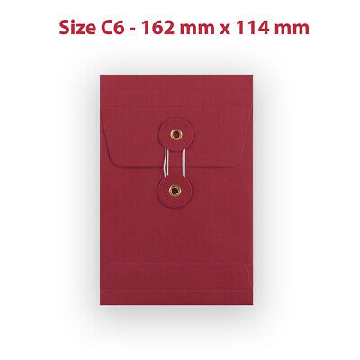 10 String & Washer C6 Bottom&Tie RED Color Envelopes - With Gusset