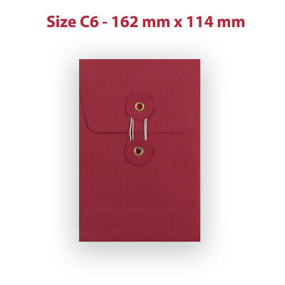 50 String & Washer C6 Bottom&Tie RED Color Envelopes - With Gusset
