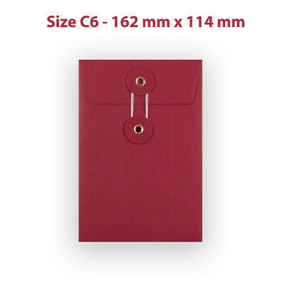 25 String & Washer C6 Bottom&Tie RED Color Envelopes - W/O Gusset