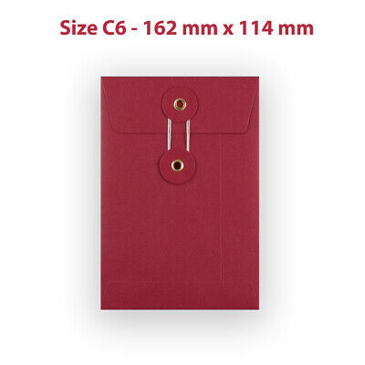 100 String & Washer C6 Bottom&Tie RED Color Envelopes - W/O Gusset