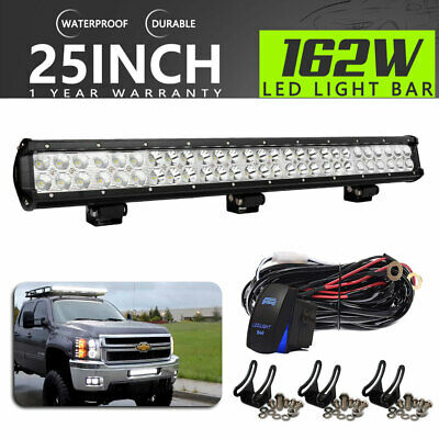 25Inch 162W Dual-Row Led Light Bar Spot/flood For Offroad Truck Ford Toyota 24