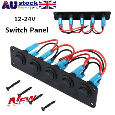 Switch Panel 12-24V ON-OFF Toggle 5 GANG Blue LED Rocker for Car Boat Marine AU