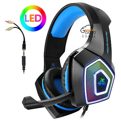 Hunterspider Gaming Headset LED Headphones for PS4 Xbox One 3DS Gamer Earphone