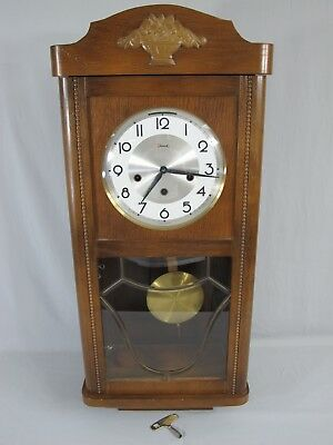 Vintage Jauch Wall Clock Made In Germany With Key Rare ! 38-1/8""