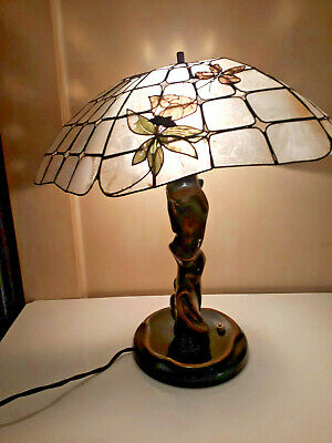alte Lampe Stehlampe Echtholz Perlmutt 1910 - 1920 mit Adapter