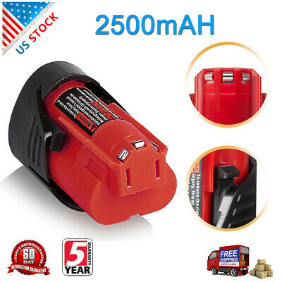 12V 2.5AH For Milwaukee M12 Lithium Compact Battery Pack 48-11-2402 48-11-2420