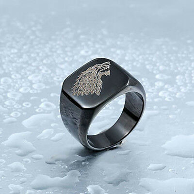 Men's Ring Game of Thrones House Stark Ice Wolf Winterfell Stainless Steel Ring