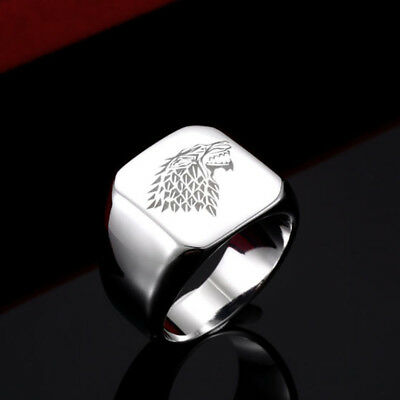 Stainless Steel Men's Ring Game of Thrones House Stark Ice Wolf Winterfell Ring