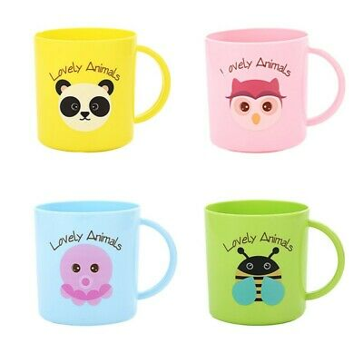Kids Cup Toddler Plastic Drinking Mugs Cartoon Print Resuable Drinks Cup Handle