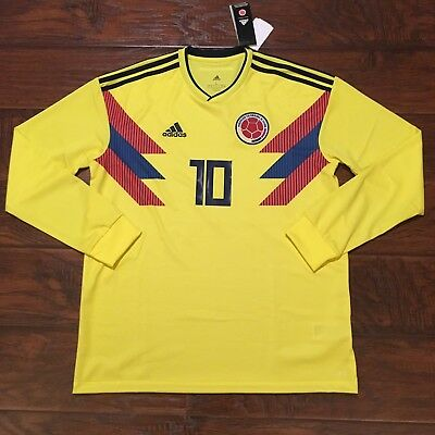 1e0d77f2e 2018 Colombia Home Jersey  10 JAMES Large ADIDAS World Cup long sleeve NEW