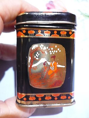 Tiny Miniature Tin Tea Caddy With A Beautiful Picture On Each Side And Lid