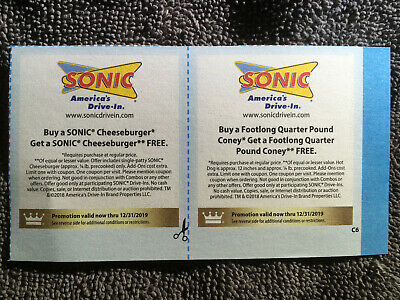 Lot of Sonic Coupons valid through 12/31/19