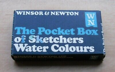 VINTAGE 50s/60s WINSOR & NEWTON POCKET BOX OF SKETCHERS WATER COLOURS