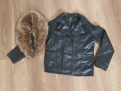 New Girls Biker removable Faux Fur Collar Biker Jacket size 11 / 12 yrs