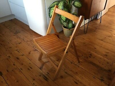 Foldable Mid Century Wooden Vintage Chair