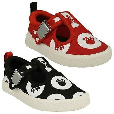 Girls Clarks City Polka T Doodle Minnie Pumps Casual Buckle Canvas Shoes Toddler