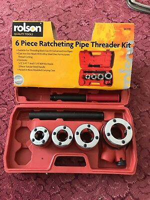 6PC Manual 4 Threading Dies Pipe Cutter & Wrenches Kit Ratchet Pipe Threader