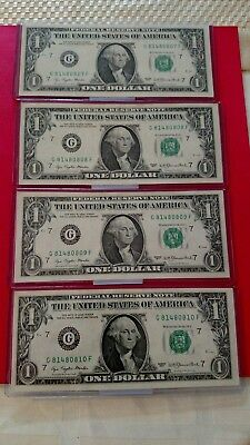 $1 Federal Reserve Notes, 4 consecutive serial number crisp 1977  UNC $1 notes!