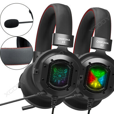 3.5mm Gaming Headset mit Mic RGB LED Kopfhörer for PC PS4 Xbox One S Controller