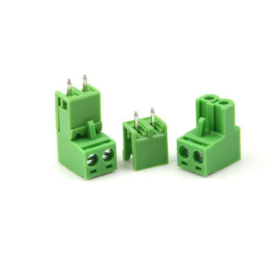 20pcs AC 300V 10A 5.08mm Pitch 2 Pin Screw Pluggable Terminal Block Green RDR RA