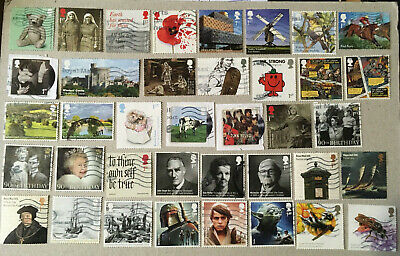 200 Different Recent GB Commemorative Stamps. Used On/Off Paper upto 2017
