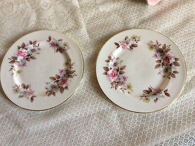 Vintage Queen Anne 2 x Pink Floral Salad / Pudding Plates