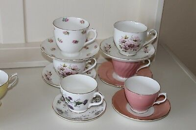 Vintage mixed lot of china cups, saucers and trio sets, ideal for vintage event.