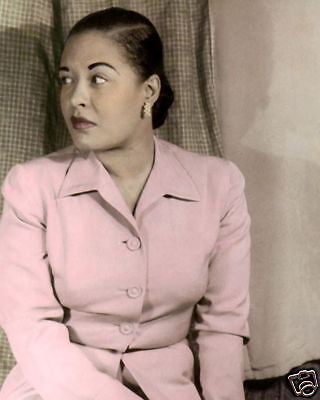 """BILLIE HOLIDAY 1949 AFRICAN AMERICAN JAZZ SINGER 8x10"""" HAND COLOR TINTED PHOTO"""