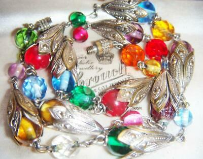 VINTAGE ART DECO JAKOB BENGEL Harlequin Glass Chrome Flower Caps NECKLACE