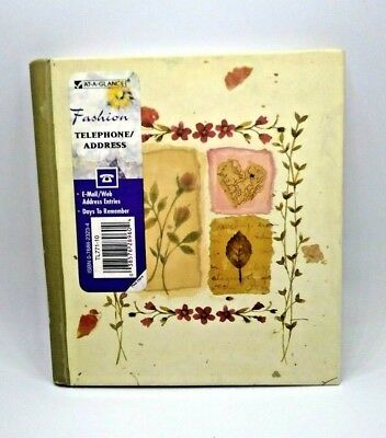 "At-A-Glance Compact Telephone Address Book Mead 5 1/2"" x 6 1/4"" Floral"