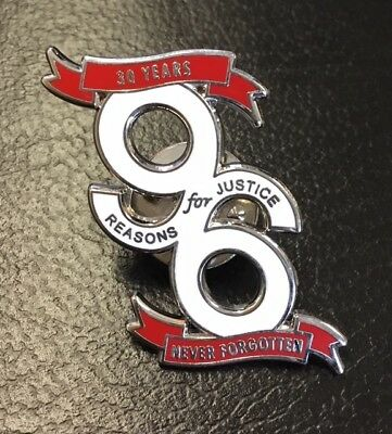 30 Years Never Forgotten, 96 Reason For Justice- White Enamel Pin Badge