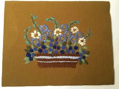 Vintage Finished Crewel Embroidered Piece Blue Green White Florals on Brown