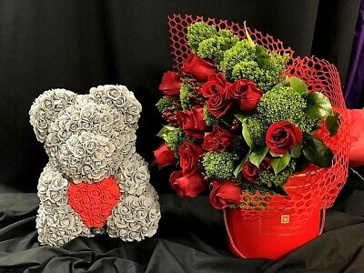 """14"""" Rose Teddy Bear with Gift Box for Mother's Day Anniversary gift"""