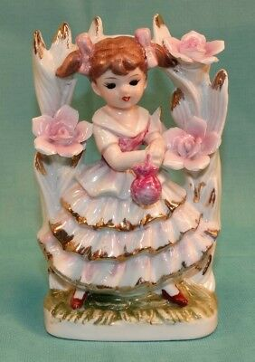 Vintage Japan Porcelain Figurine Girl In Tree Ruffled Dress Pink Flowers Pretty